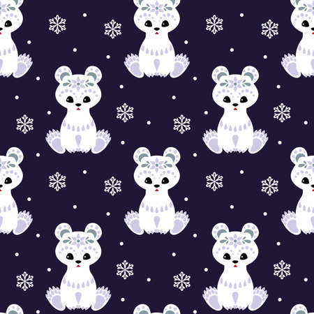 Christmas seamless pattern with cute polar bear in ethnic style. Colorful vector background Illustration