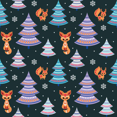 Christmas seamless pattern with cute fox and squirrel in ethnic style. Colorful vector background