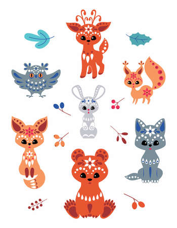 Cute woodland animals in ethnic style isolated on a white background. Colorful vector illustrations set. Illustration