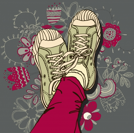 Vector colored pattern gym shoes on grunge background Vector