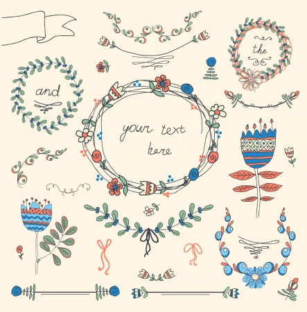 Vintage frames and hand-drawn floral decorative elements Vector