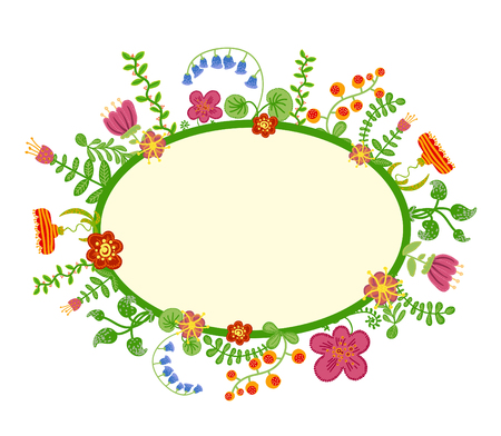 Retro floral background, frame with flowers Vector
