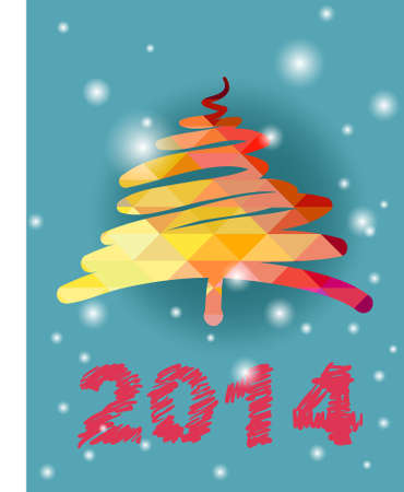 Christmas and New Year hand-painted decoration with Christmas tree photo