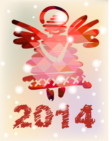 Christmas angel and New Year hand-painted decoration