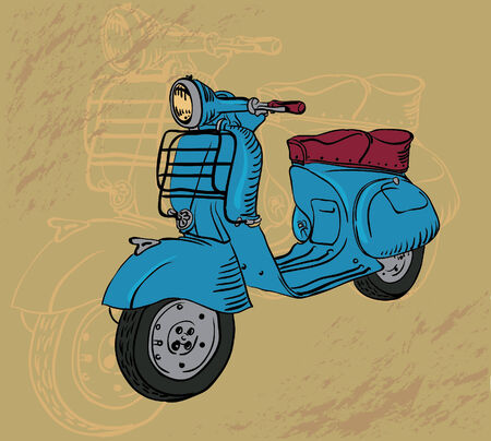 car drawing: drawing retro motorbike