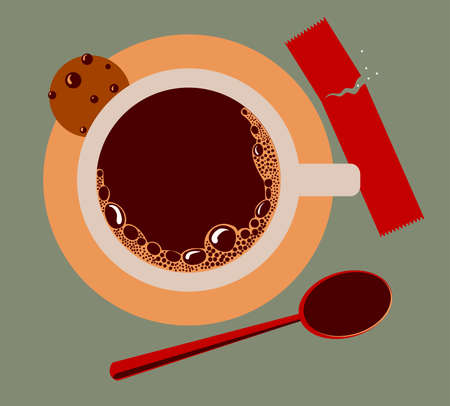 image of a cup of coffee, sugar, spoons and cookies photo