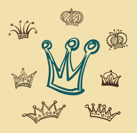 Set of  crowns on yellow background
