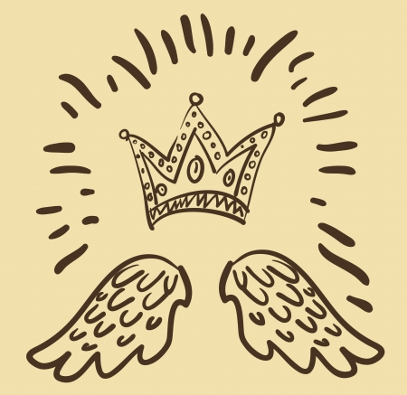 illustration of royal crown and two angel wings