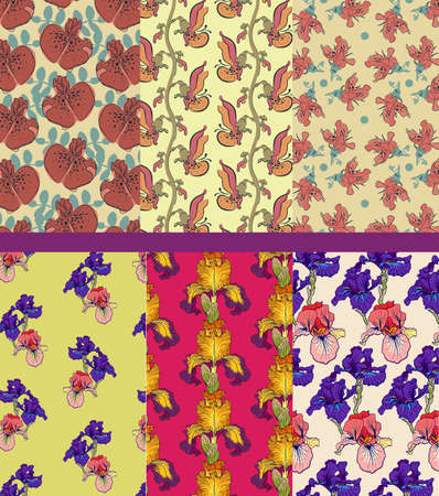 oldened: floral background, patterns set Stock Photo