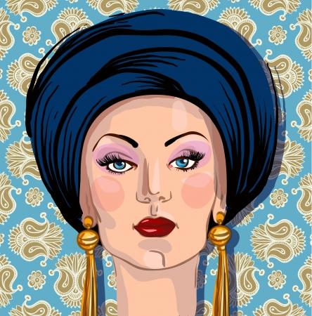 portrait of woman in oriental headdress photo