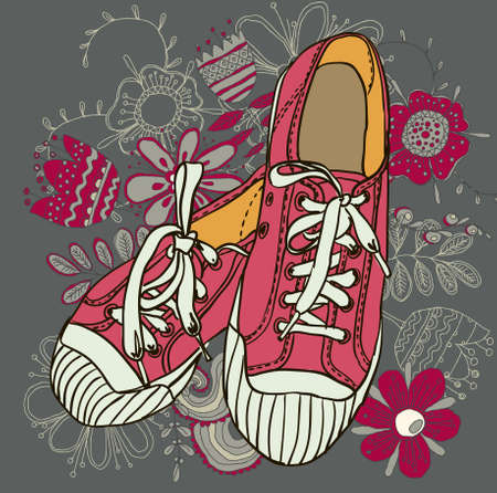 colored pattern gym shoes on grunge background photo
