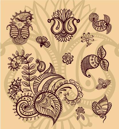 floral design set Stock Photo