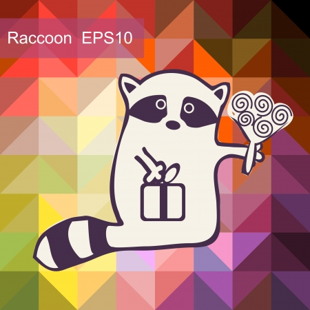 racoon: Cartoon racoon with flower
