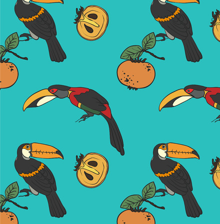 persimmon: Two toucan and persimmon ornament