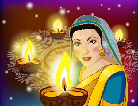 beautiful woman in traditional clothes with holiday lights festival of Diwali photo