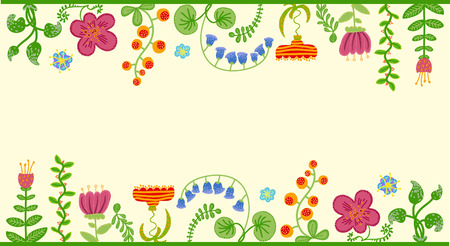Retro floral background, frame with flowers Illustration