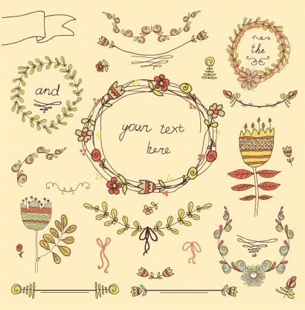 Vintage frames and handdrawn floral decorative elements