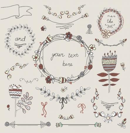decorative elements: Vintage frames and handdrawn floral decorative elements