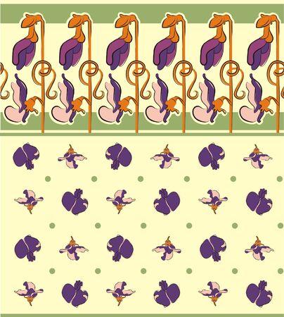 oldened: Sweet pea flower ornament Illustration