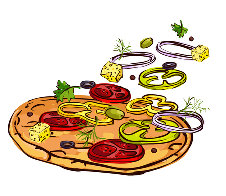 Vector illustration of a pizza Vector