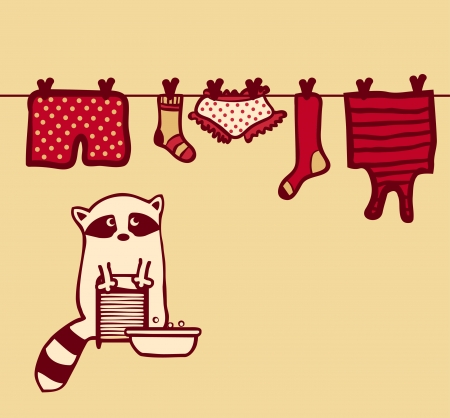 Vector raccoon washes and dries her clothes on the clothesline Vector