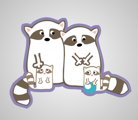 Vector cute raccoon family with two children Vector