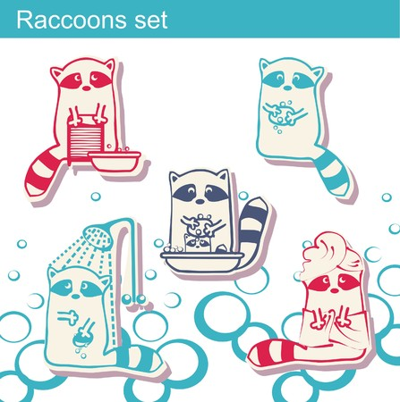 Set of raccoons who wash themselves and wash clothes Vector