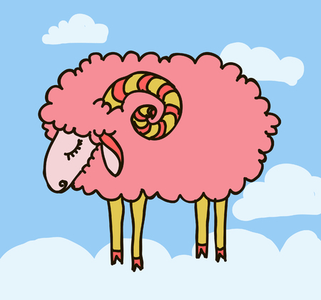 white sheep and clouds on the sky  vector illustration Vector