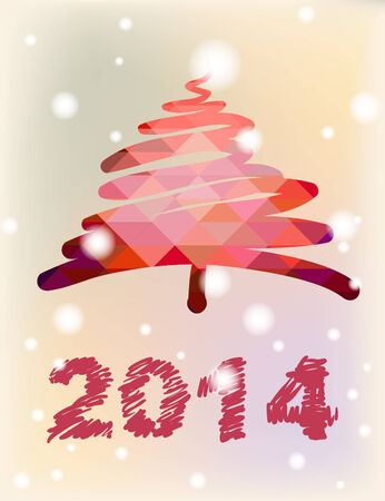 Vector Christmas and New Year hand-painted decoration with Christmas tree Vector