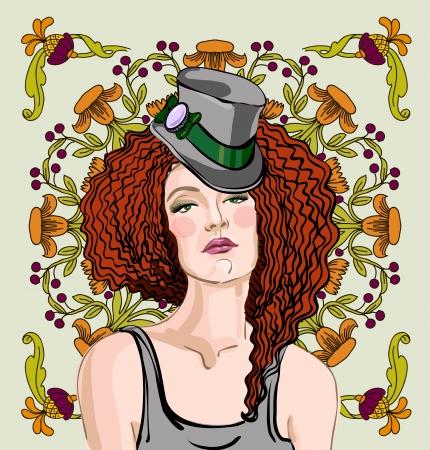 花の飾りの背景に赤い髪の美しい女性のベクトルの肖像