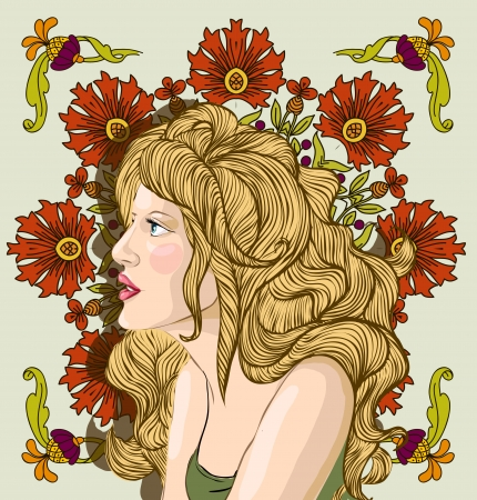 hairdress: Vector portrait of a beautiful blond woman