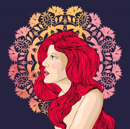 Vector portrait of a beautiful woman with red hair on the background of floral ornament