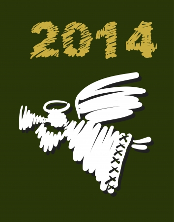 Vector Christmas angel and New Year hand-painted decoration Illustration