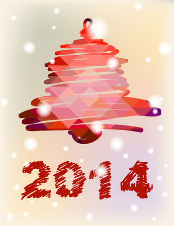 Vector Christmas and New Year hand-painted decoration with bell Vector