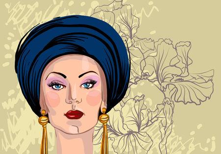 Vector portrait of woman in oriental headdress Vector