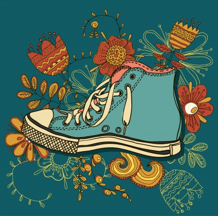 Vector colored pattern gym shoes on grunge background Illustration