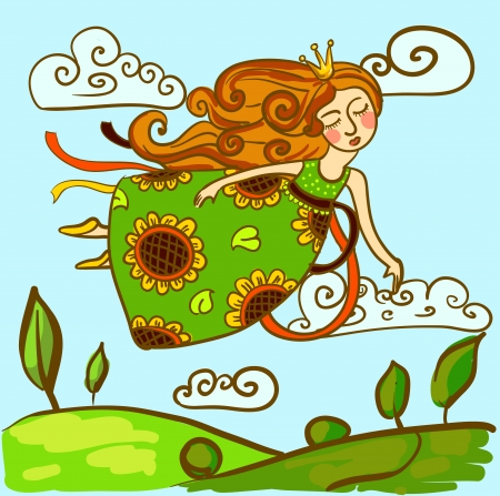 Vector image of the princess in a bright dress flying in the sky