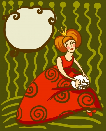 Vector illustration of princess in a red dress with a white cat on her lap Vector