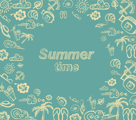 Vector hand drawings background of words and objects relative to summer time, travel, leisure, Happiness