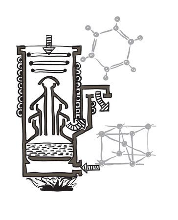 기밀: 수은 진공 펌프의 벡터 드로잉 계획 일러스트
