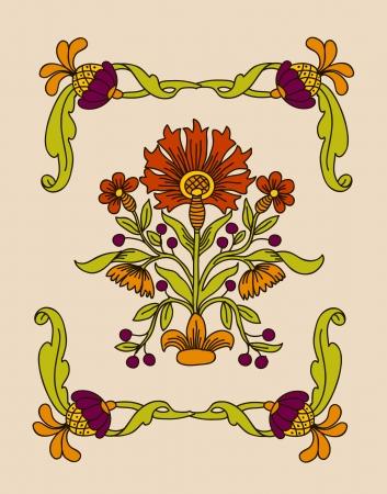 art deco border:  Vector art nouveau decorative flowers