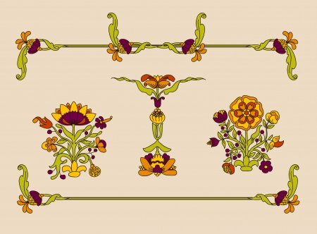 fleuron:  Vector art nouveau decorative flowers