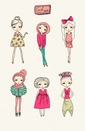 spring coat: Set of teenage vector girls Illustration