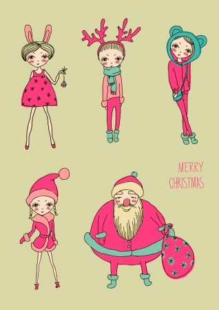 Set of teenage christmas girls Vector