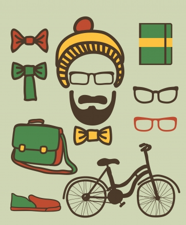 Vector set of hipster Vector