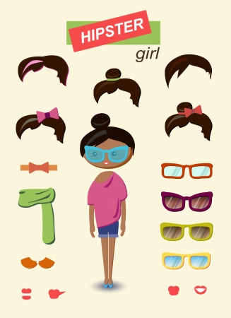 Hipster girl fashion set Vector