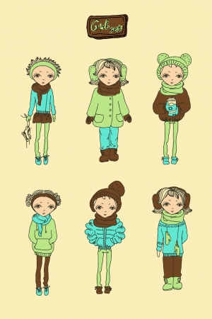Set of winter teenage vector girls Vector