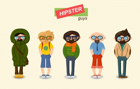 Hipster guys fashion set Illustration