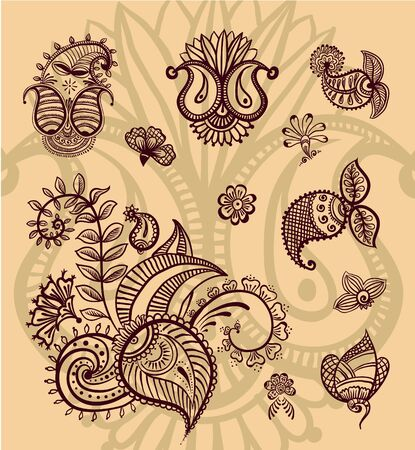 Vector floral design set Vector