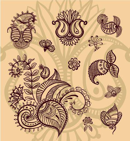 Vector floral design set